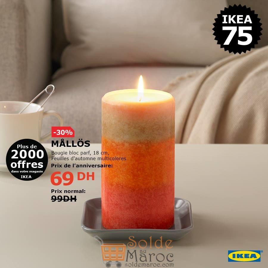 Soldes Ikea Maroc Bougie bloc parfumé 69Dhs au lieu de 99Dhs