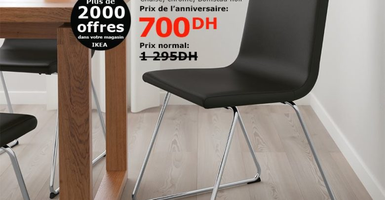 Soldes Ikea Maroc Chaise chromé VOLFGANG 700Dhs au lieu de 1295Dhs