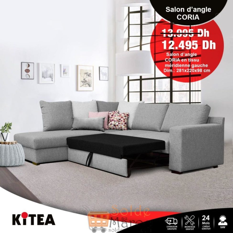 Soldes Kitea Salon d'angle CORIA en tissu 12495Dhs au lieu de 13995Dhs
