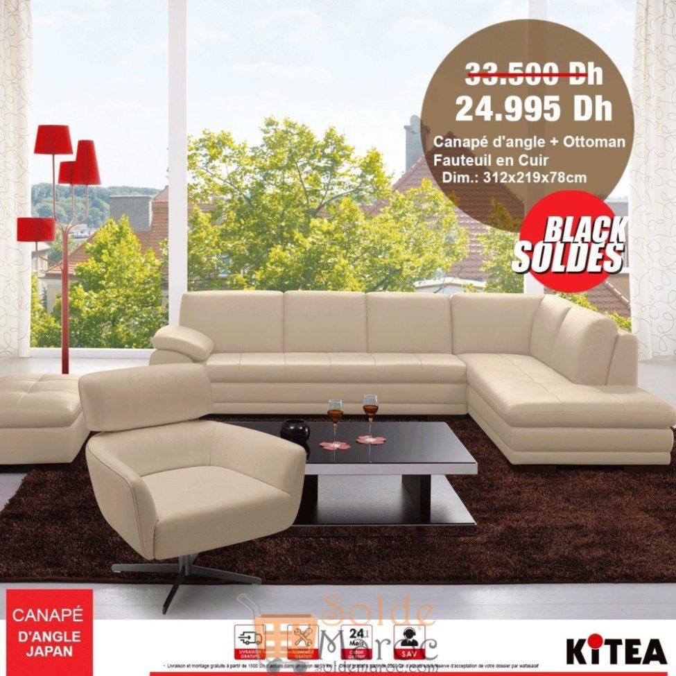 Black Soldes Kitea Canapé d'angle + Ottoman fauteuil en cuir 24995Dhs au lieu de 33500Dhs
