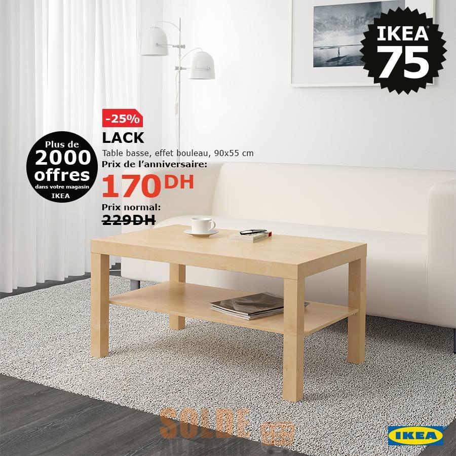 Soldes Ikea Maroc Table basse LACK 170Dhs au lieu de 299Dhs