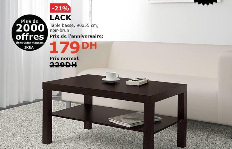 Soldes Ikea Maroc Table basse noir-brun LACK 179Dhs au lieu de 229Dhs
