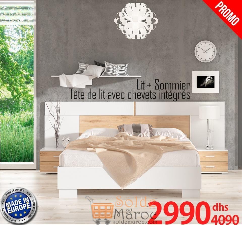 Soldes Azura Home LIT KAROLA + 2 CHEVETS 2990Dhs au lieu de 4090Dhs