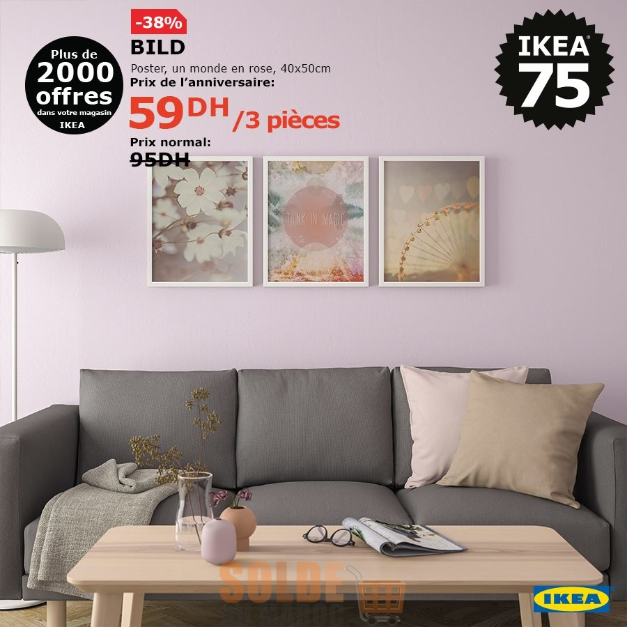 Soldes Ikea Maroc Poster 3 pièces un monde en rose BILD 59Dhs au lieu de 95Dhs