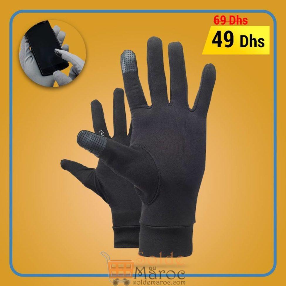 Soldes Decathlon Gant Running Tactile Noir 49Dhs au lieu de 69Dhs