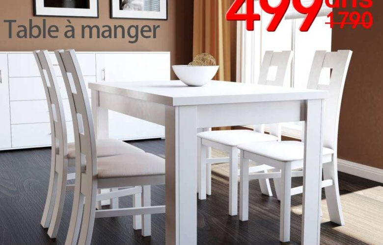 Soldes Azura Home TABLE UNIVERS BLANC 499Dhs au lieu de 2029Dhs