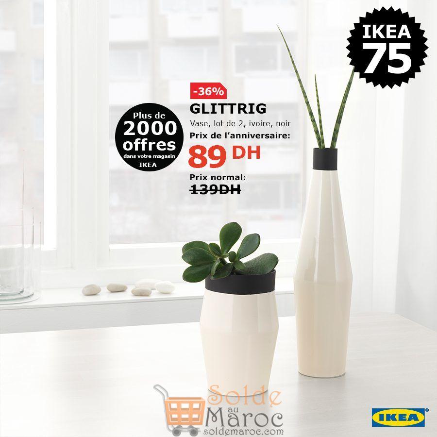 Soldes Ikea Maroc lot de 2 Vases GLITTRIG 89Dhs au lieu de 139Dhs