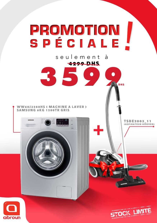 Promo Spéciale Abroun Electro Lave-linge + Aspirateur 3599Dhs au lieu de 4299Dhs