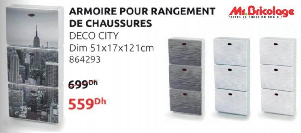 Promo Mr Bricolage Maroc Armoire rangement chaussures DECO CITY 559Dhs au lieu de 699Dhs