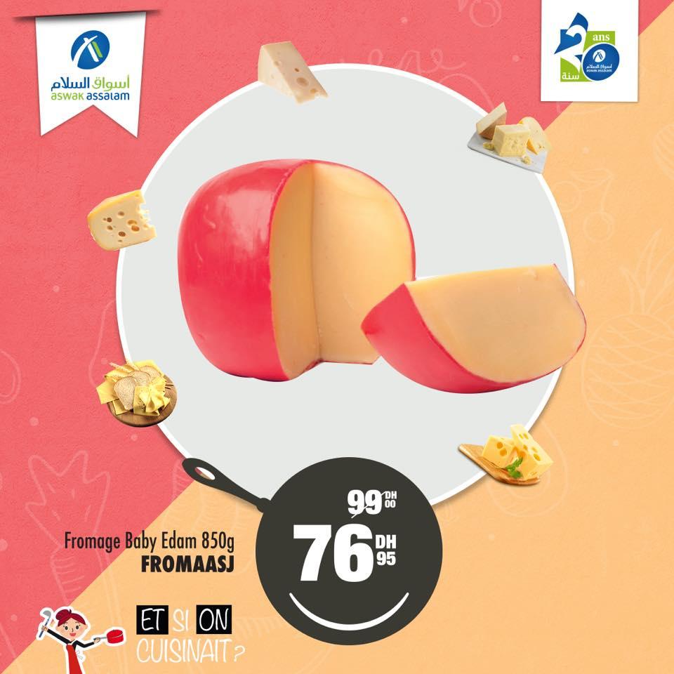 Promo Aswak Assalam Fromage Baby Edam 850g 76Dhs au lieu de 99Dhs
