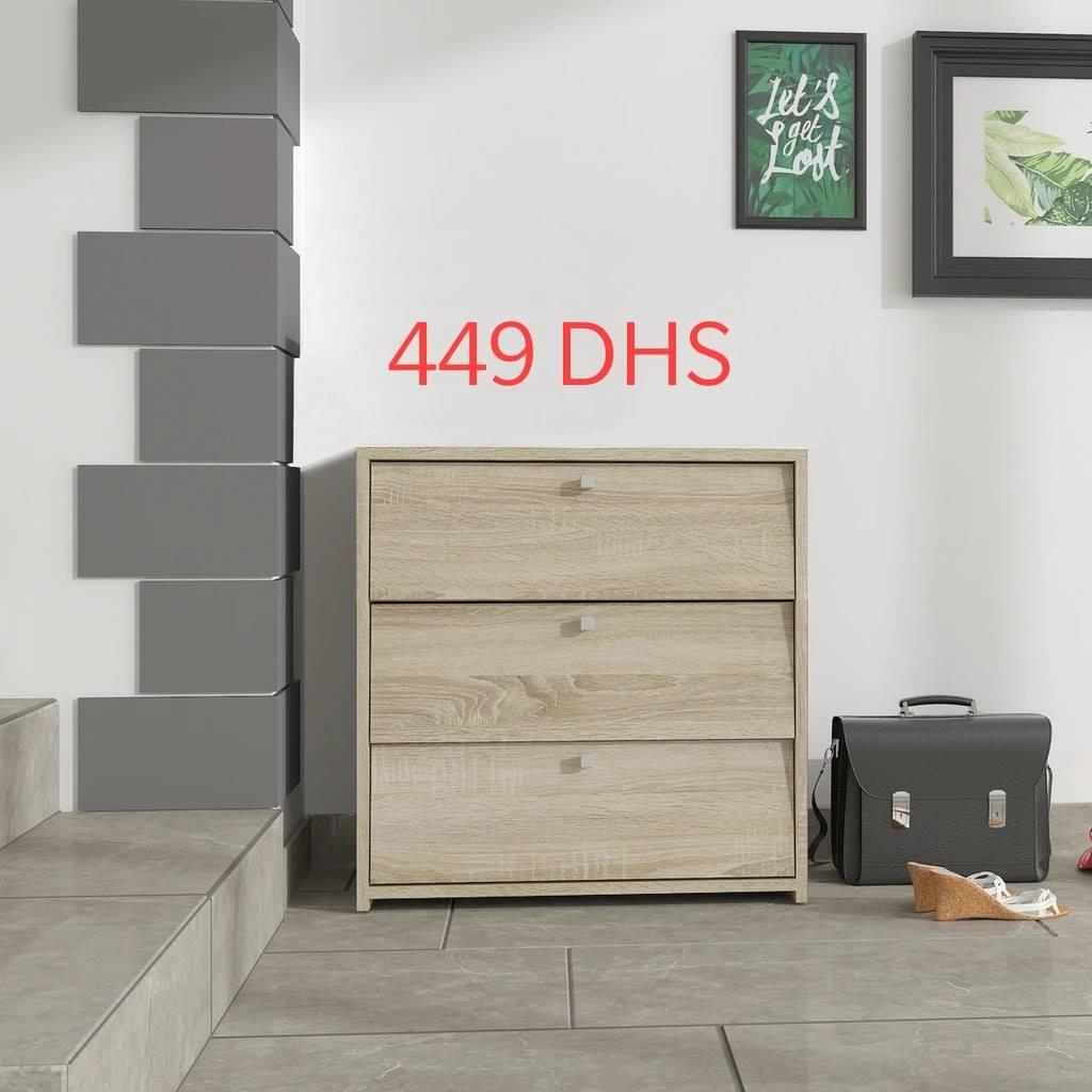 Soldes Azura Home Meuble à chaussure 3 compartiments FIJA 449Dhs au lieu de 790Dhs