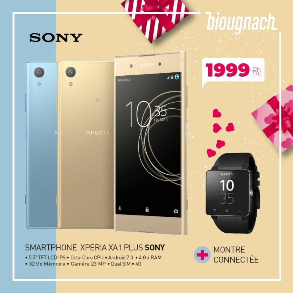 Promo Biougnach Electro Smartphone Sony Xperia XA1 Plus + Monte Connectée 1999Dhs