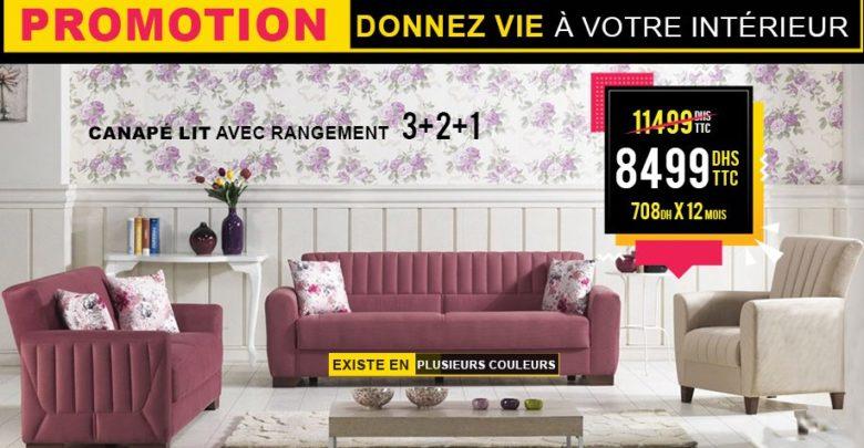 Promo Electro Bousfiha Canapé lit avec rangement 3+2+1 8499Dhs au lieu de 11499Dhs