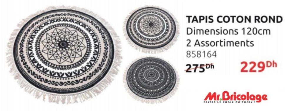 Promo Mr Bricolage Tapis coton rond 120cm 229Dhs au lieu de 275Dhs