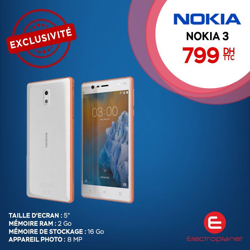 Offre Spéciale Electroplanet Smartphone NOKIA 3 799Dhs
