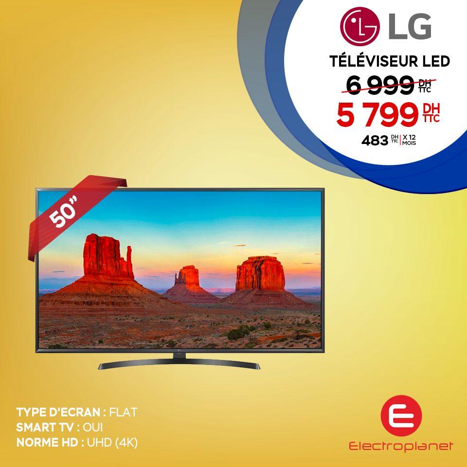 """Promo Electroplanet Smart TV 50"""" LG 4K 5799Dhs au lieu de 6999Dhs"""