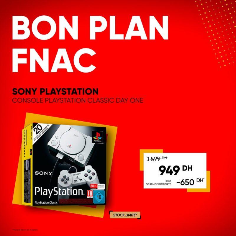 Bon Plan Fnac Maroc Console Playstation Classic + 20 jeux inclus 949Dhs au lieu de 1599Dhs