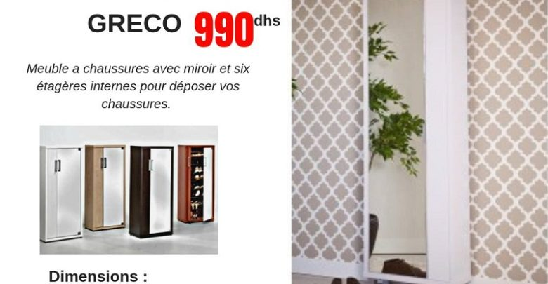 Photo of Promo CCMobilier Meuble à chaussure GRECO 990Dhs