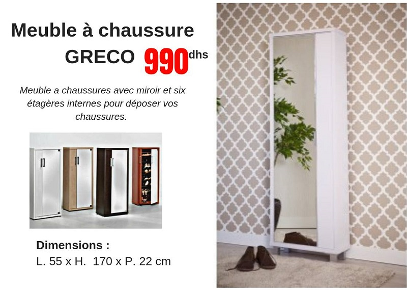 Promo CCMobilier Meuble à chaussure GRECO 990Dhs