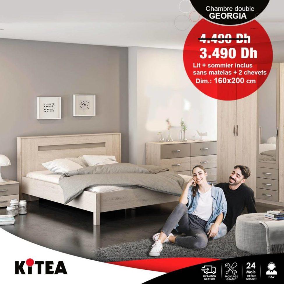 Promo Kitea Lit + Sommier GEORGIA 3490Dhs au lieu de 4490Dhs