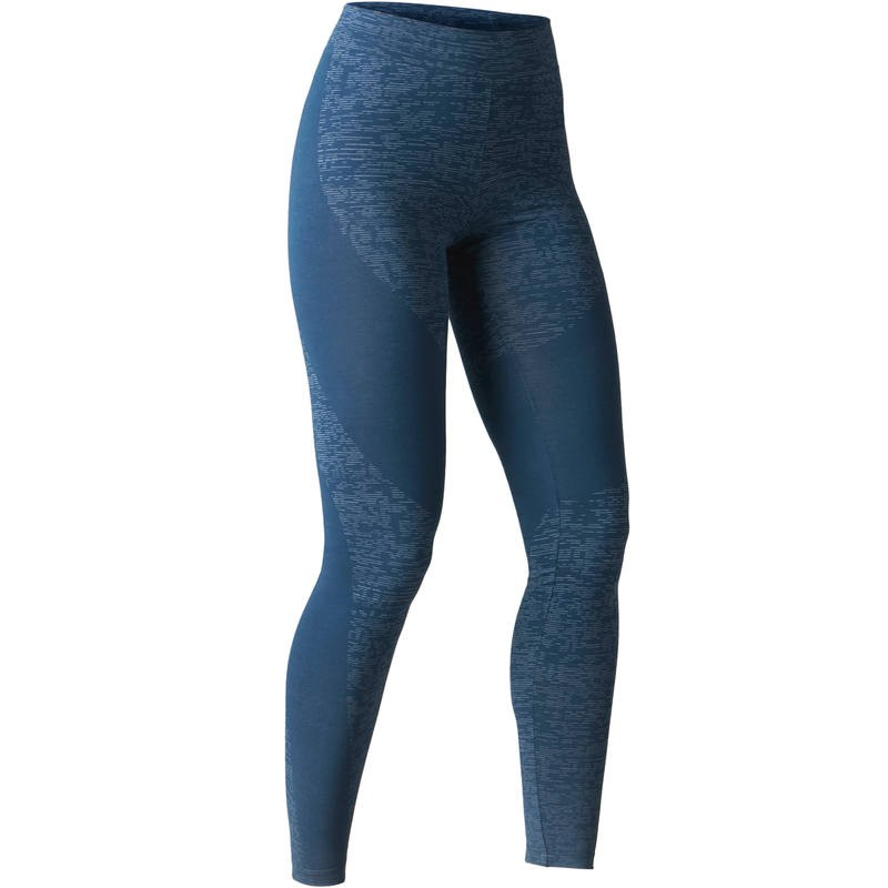 Soldes Decathlon Legging FIT+ 500 slim Gym Stretching femme bleu AOP 119Dhs au lieu de 149Dhs