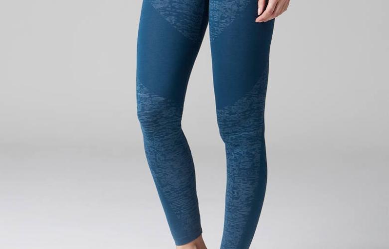Soldes Decathlon Legging FIT+ 500 slim Gym Stretching femme bleu AOP 119Dhs au lieu de 149Dhs