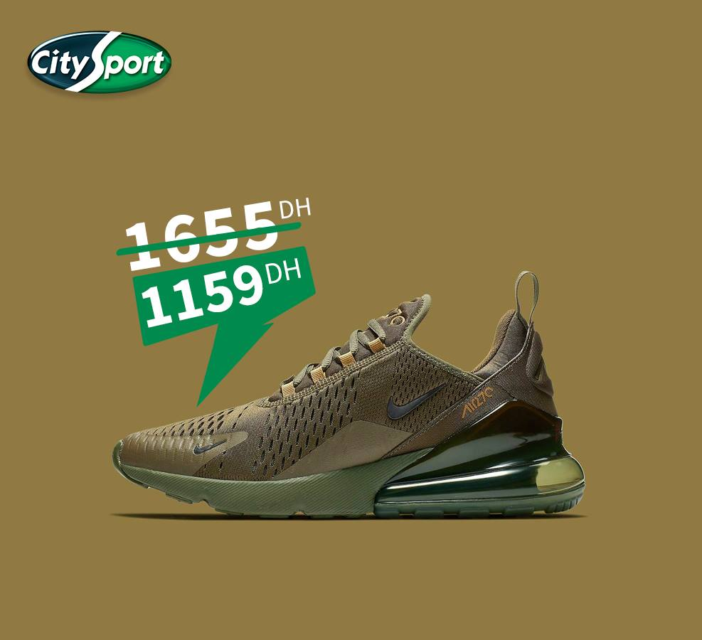 Solde City Sport Nike Air Max 270 Olive Canvas/Black allie 1159Dhs au lieu de 1655Dhs