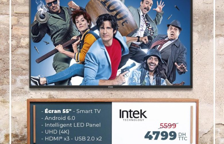 Promo Biougnach Electro Smart TV 55° 4K INTEK 4799Dhs au lieu de 5599Dhs