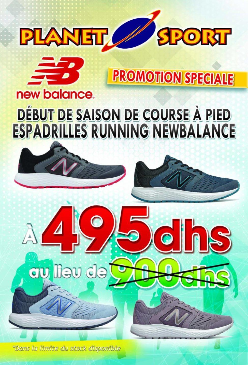 Promo Spéciale Planet Sport Espadrilles de course New Balance Femmes/Hommes 495Dhs au lieu de 900Dhs
