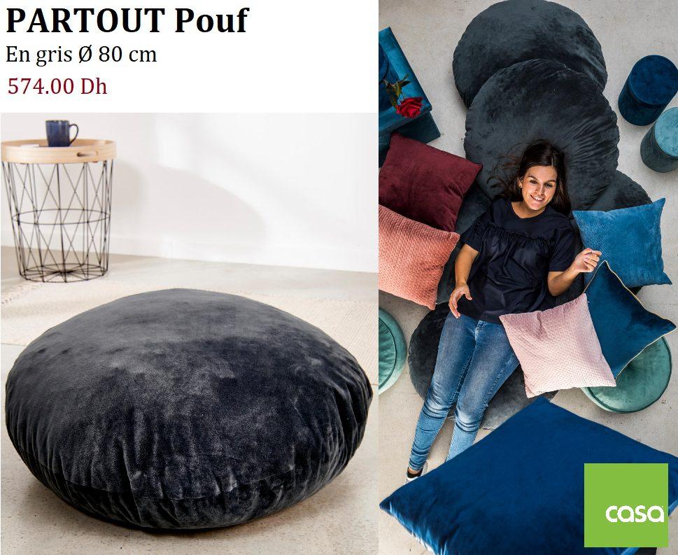 Nouveau chez casa Maroc PARTOUT Pouf gris 80cm 574Dhs