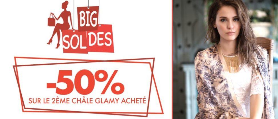 Soldes Bigdil Maroc -50% sur le 2ème châle GLAMY