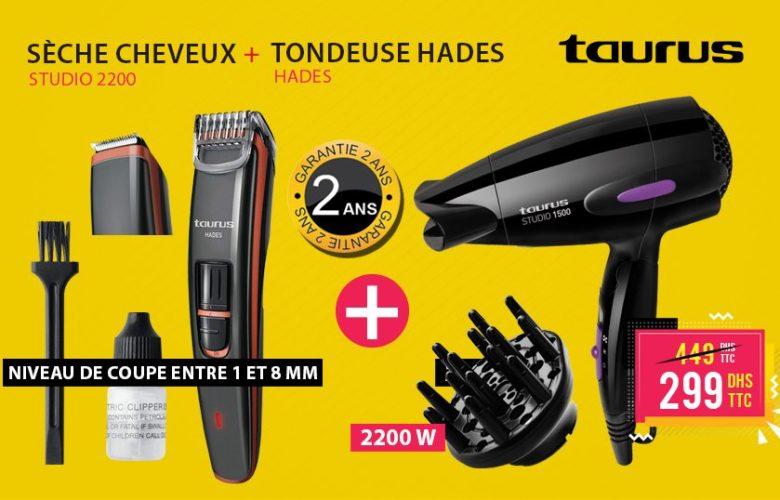 Promo Electro Bousfiha Sèche cheveux + Tondeuse Taurus 299Dhs au lieu de 449Dhs