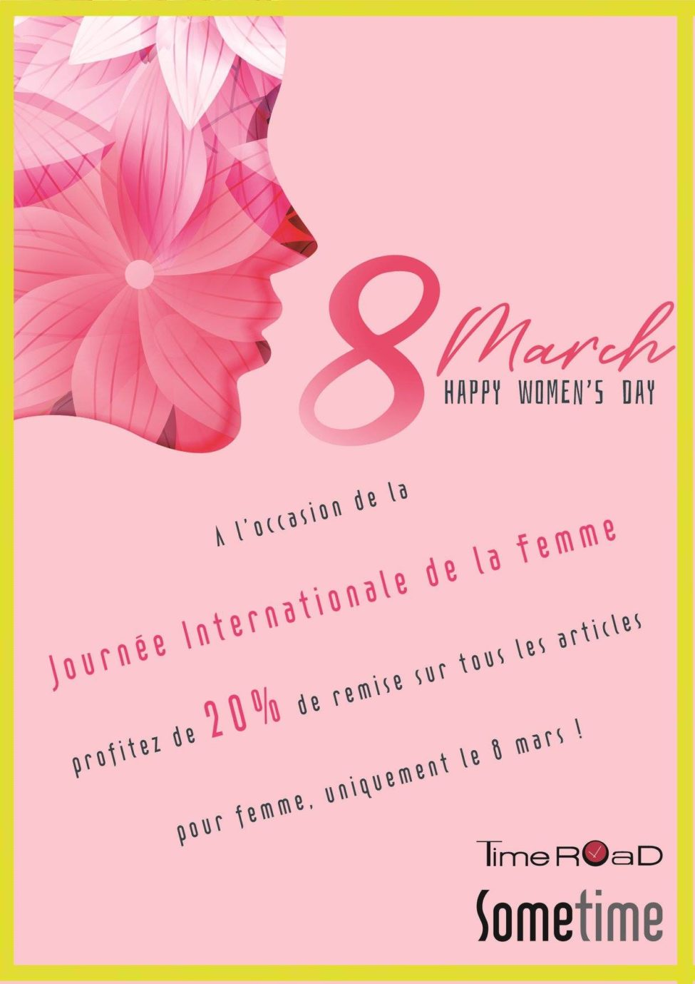 Promo Happy Women's Day TimeRoad Maroc 20% le 8 mars 2019