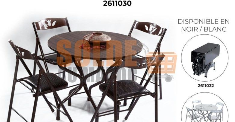 Photo of Nouveau chez Yatout Home Table ronde pliable + 4 chaises 1590Dhs
