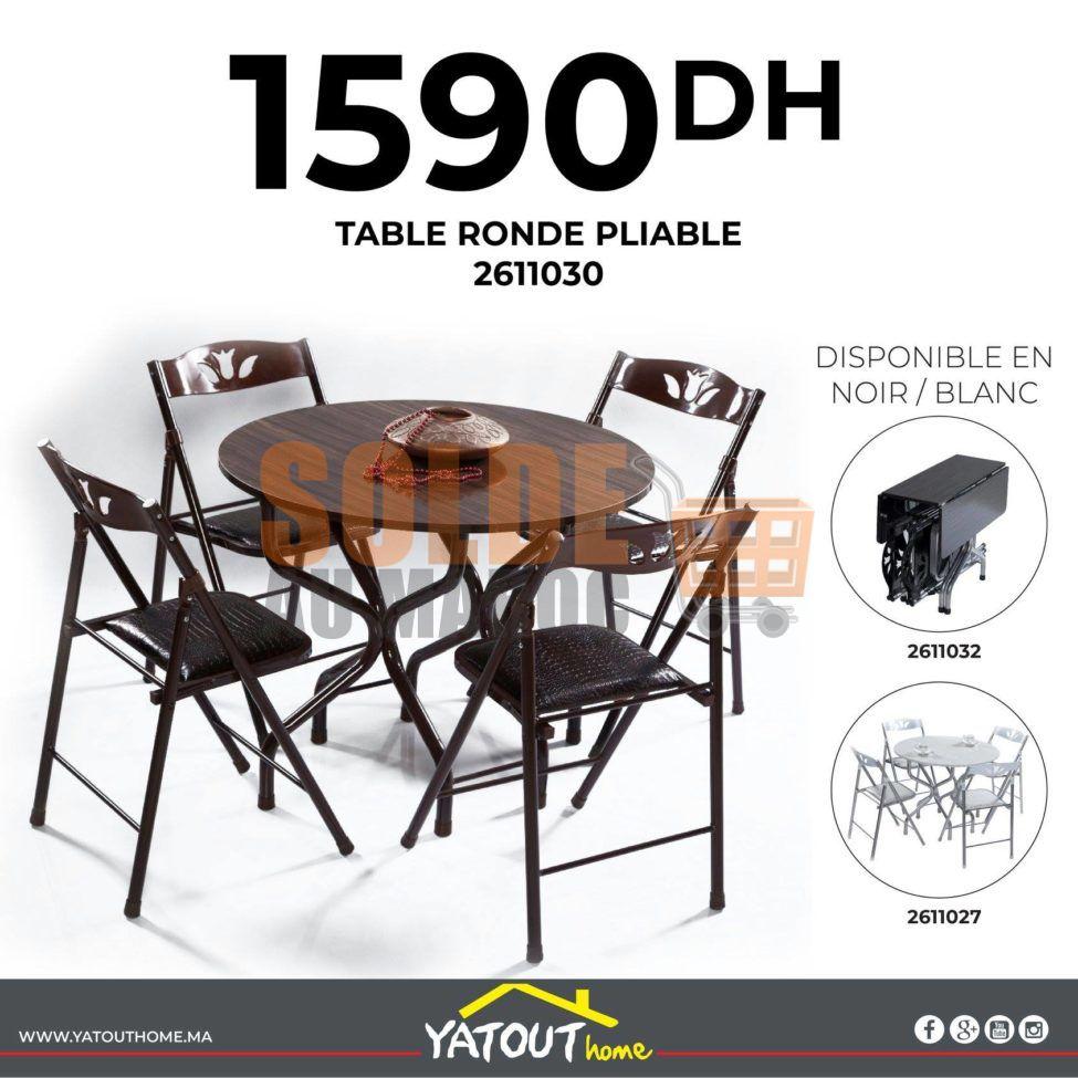 Nouveau chez Yatout Home Table ronde pliable noir ou blanche 1590Dhs
