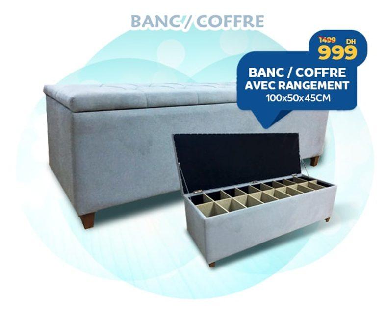 Promo Marjane Banc Coffre avec rangement 999Dhs au lieu de 1499Dhs