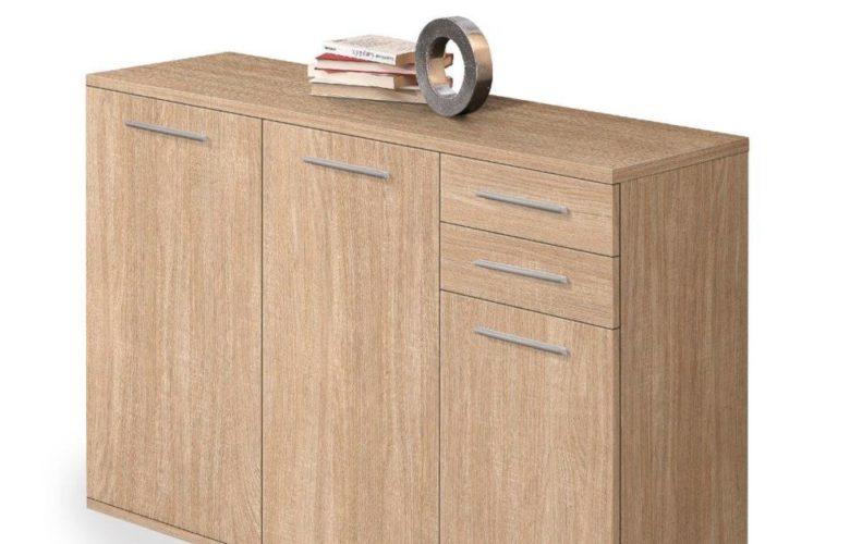 Promo Yatout Home Meuble rangement 3 portes + 2 tiroirs chêne 1590Dhs au lieu de 2240Dhs
