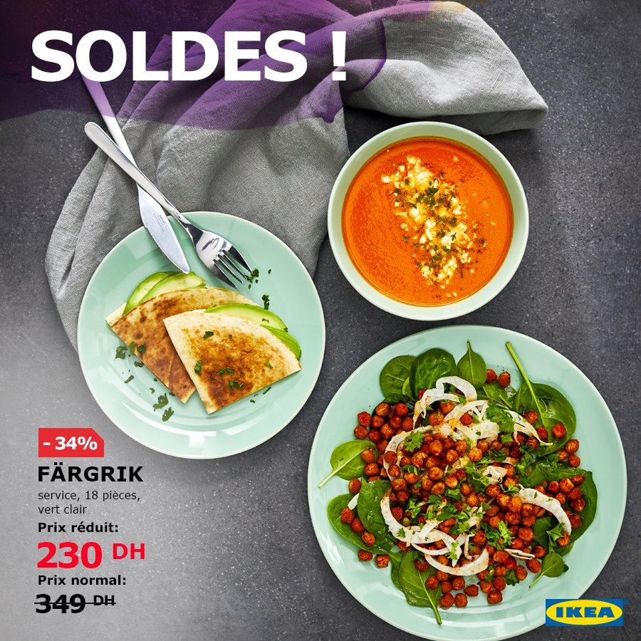Soldes Ikea Maroc Service FARGRIK 18 pièces Turquoise foncé 230Dhs au lieu de 349Dhs