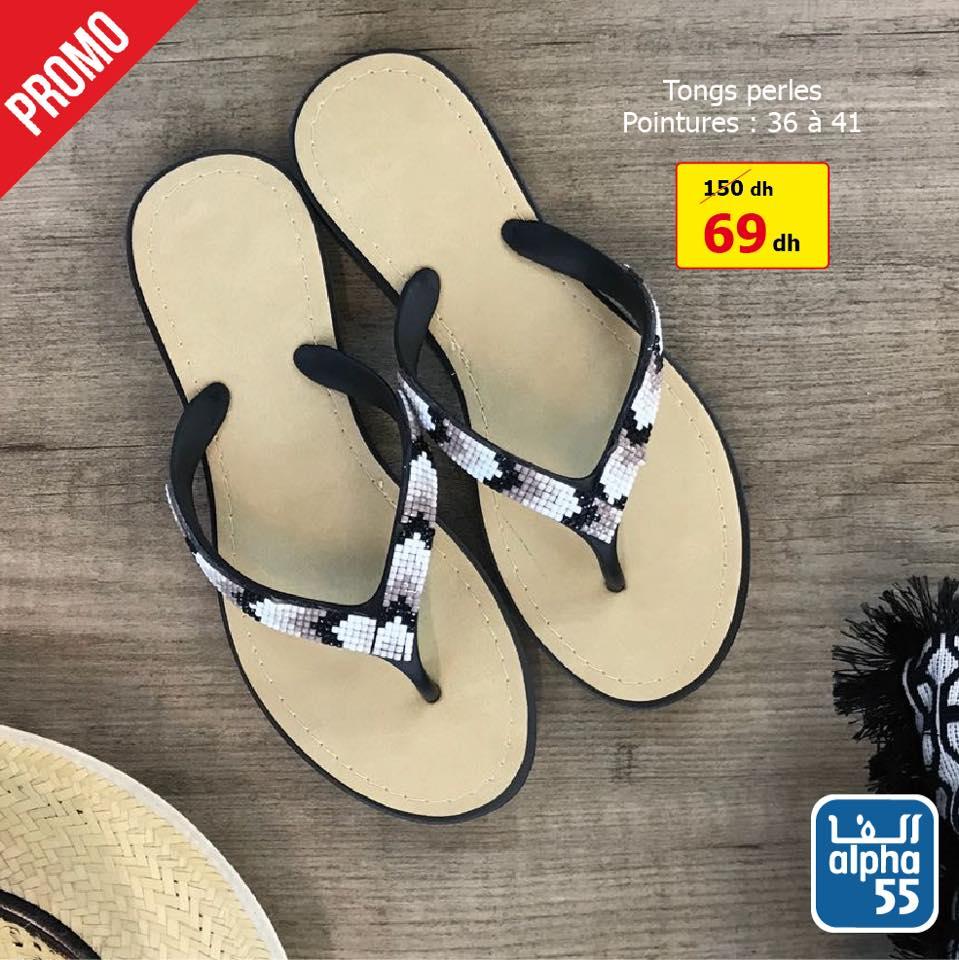 Promo Alpha55 Tongs et sandales pour femme 69Dhs au lieu de 150Dhs