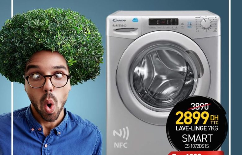 Promo Biougnach Electro Machine à Laver CANDY Smart 7Kg 2899DHs au lieu de 3890Dhs