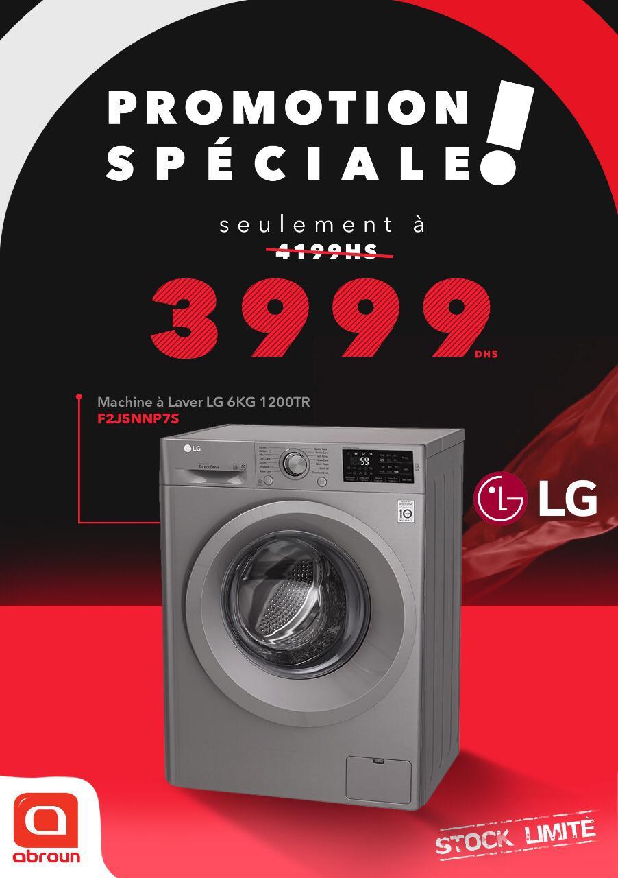 Promo Spéciale Abroun Electro Lave-linge 6Kg LG 3999Dhs au lieu de 4199Dhs