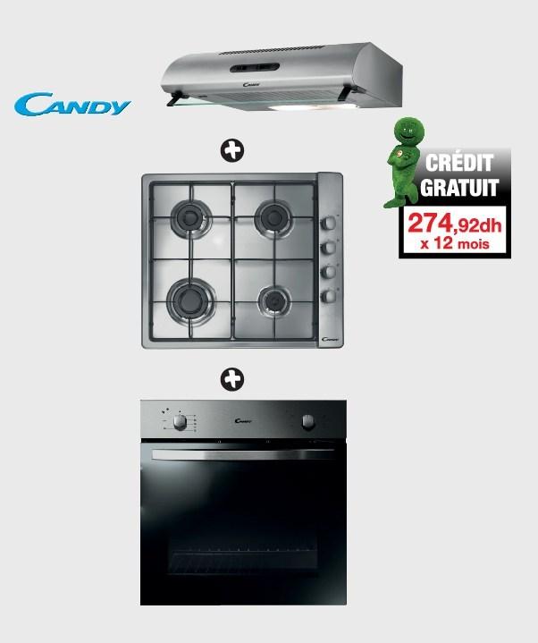Soldes Aswak Assalam Plaque de cuisson + hotte aspirante + four encastrable CANDY 3299Dhs au lieu de 3699Dhs