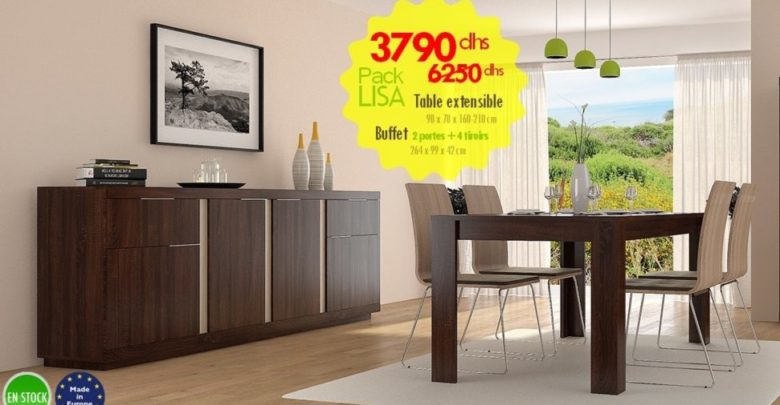 Photo of Soldes Azura Home PACK LISA Table à manger extensible + Buffet 3790Dhs au lieu de 6250Dhs