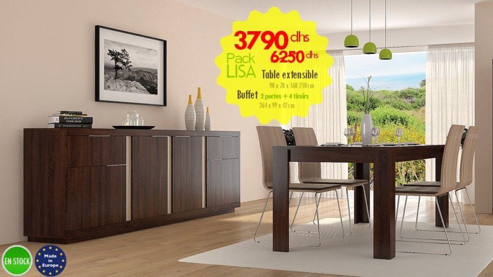 Soldes Azura Home PACK LISA table à manger extensible sans chaise + Buffet 4 portes 2 tiroirs 3790Dhs au lieu de 6250Dhs