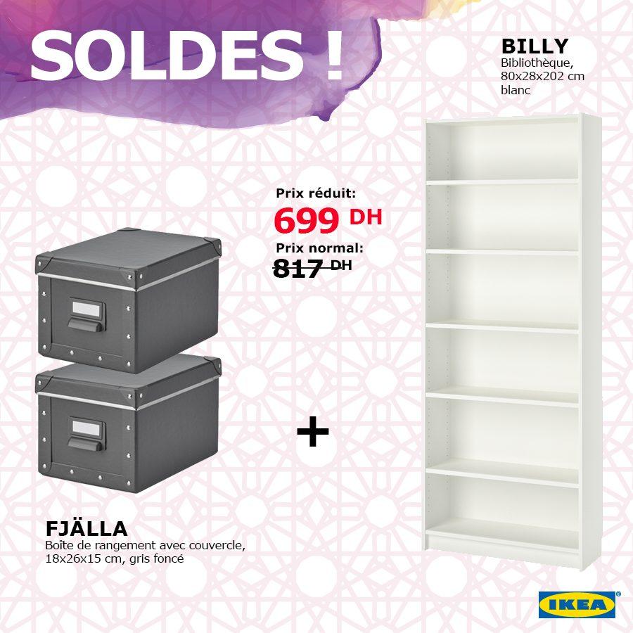 Soldes Ikea Maroc Bibliothèque BILLY + 2 boites de rangement 699Dhs au lieu de 817Dhs