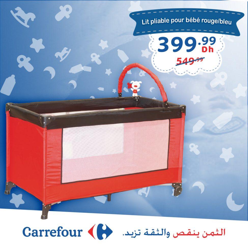 Promo Carrefour Maroc Lit Bébé pliable rouge/bleu 399Dhs au lieu de 549Dhs