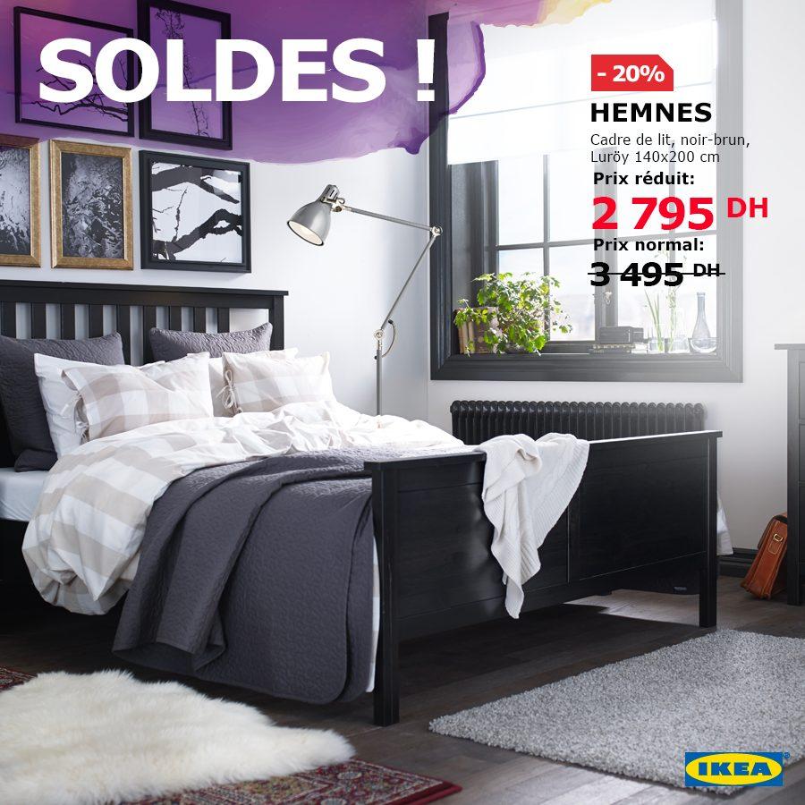 Soldes Ikea Maroc Cadre de lit HEMNES + Sommeir Luröy 2795Dhs au lieu de 3495Dhs