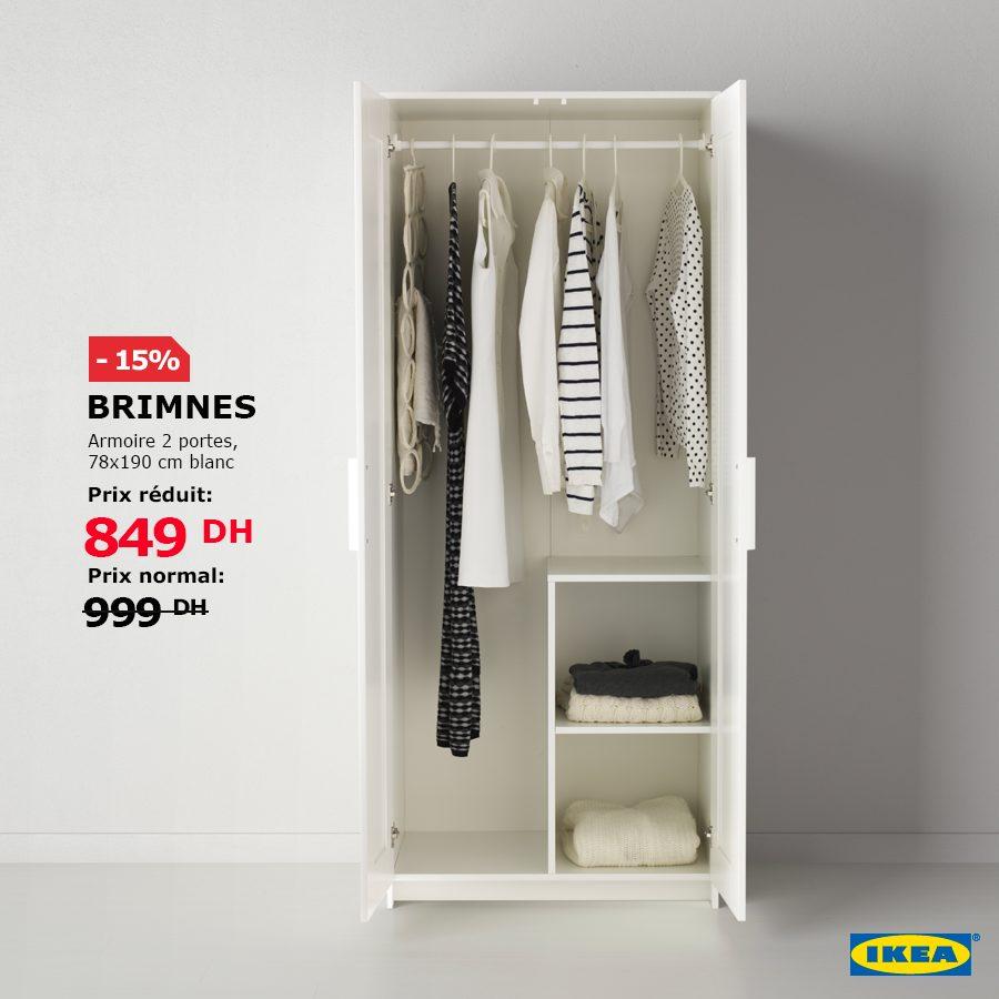 Soldes Ikea Maroc Armoire 2 portes BRIMNES 849Dhs au lieu de 999Dhs