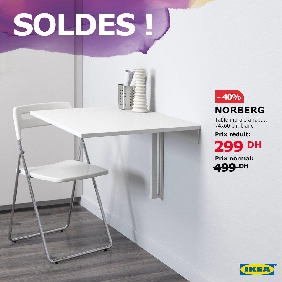 Soldes Ikea Maroc Table murale à rabat NORBERG 299Dhs au lieu de 499Dhs