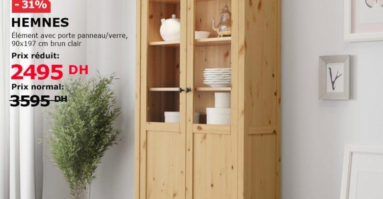 Soldes Ikea Maroc Element avec porte panneau/verre brun clair HEMNES 2495Dhs au lieu de 3595Dhs
